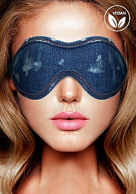Denim Eye Mask - Roughend Denim Style - Blue