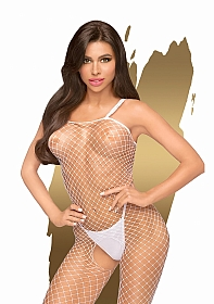 Body search  -  Fishnet bodystocking with open crotch  -  white