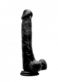 """Realistic Cock - 10"""" - With Scrotum - Black"""