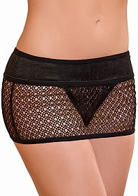 Mini Skirt w/ attached Thong - Black