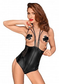 Wetlook body with multistraps - Black