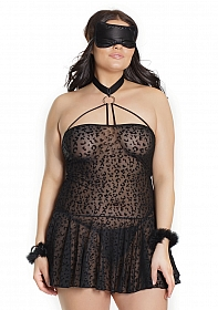 Kitty Leopard Babydoll with Cuffs & Eye Mask - Black