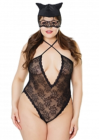 Kitty Lace Crotchless Teddy with Cat Mask - Black